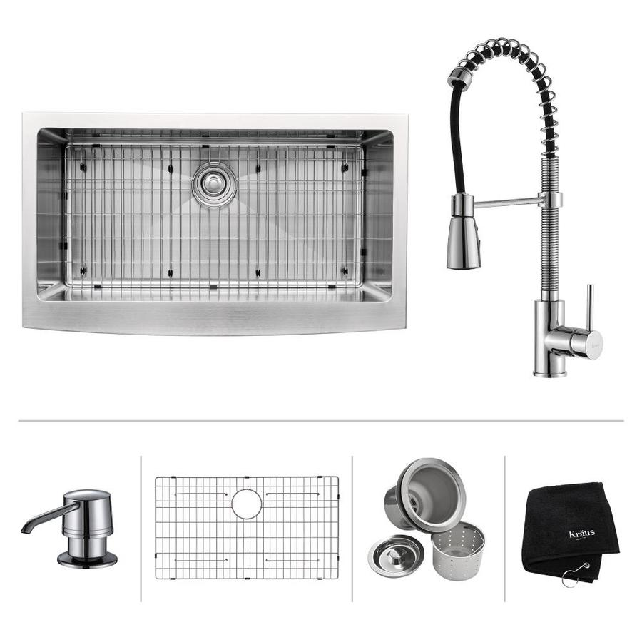 Kraus Kitchen Combo 20.75-in x 35.9-in Single-Basin Stainless Steel Apron Front/Farmhouse Kitchen Sink
