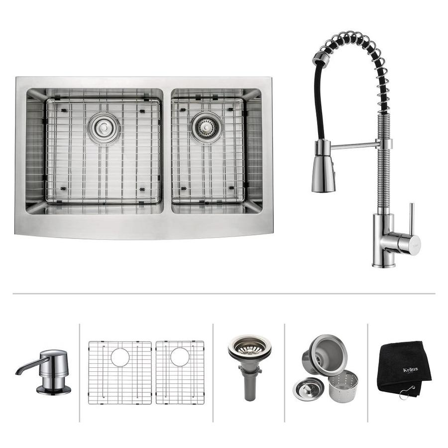 Kraus Kitchen Combo 20.75-in x 32.9-in Steel-Stainless Double-Basin Apron Front/Farmhouse Kitchen Sink