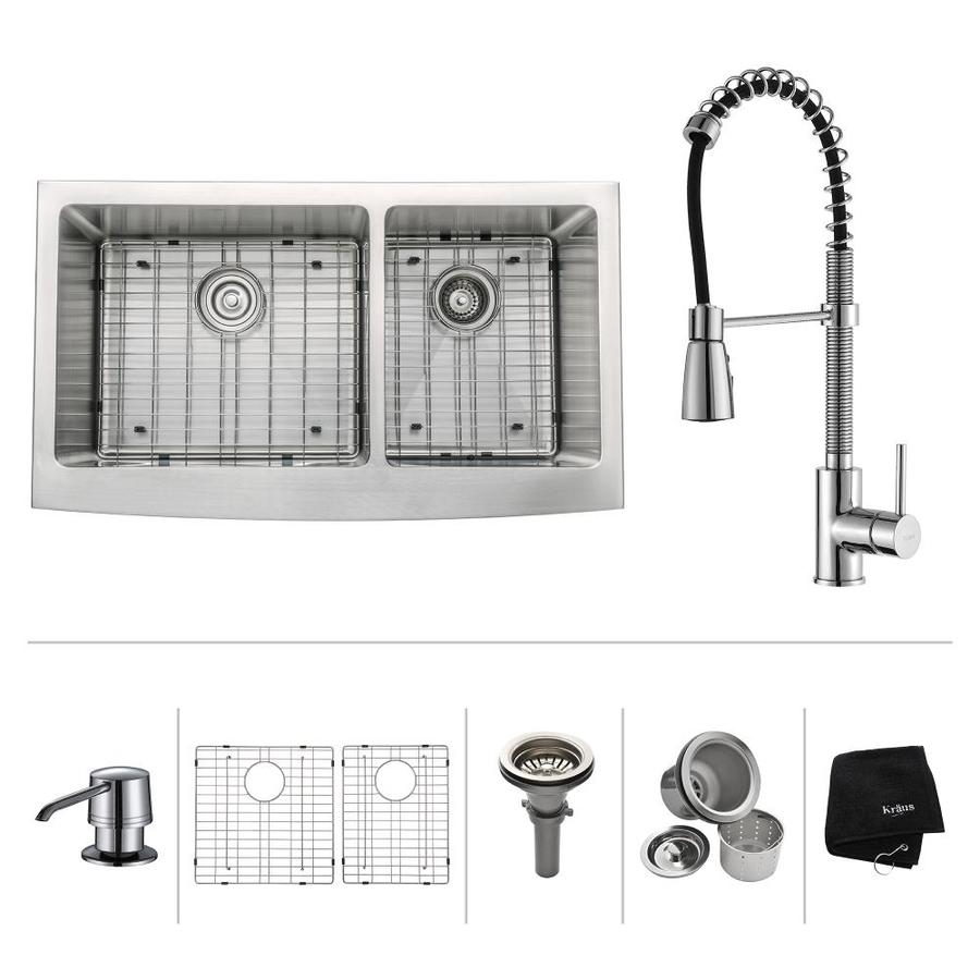Kraus Kitchen Combo 20.75-in x 35.9-in Steel-Stainless Double-Basin Apron Front/Farmhouse Residential Kitchen Sink All-In-One Kit