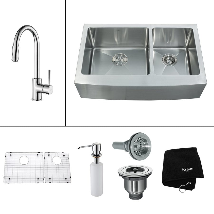 Kraus Kitchen Combo 20.75-in x 35.9-in Double-Basin Stainless Steel Apron Front/Farmhouse Residential Kitchen Sink All-In-One Kit