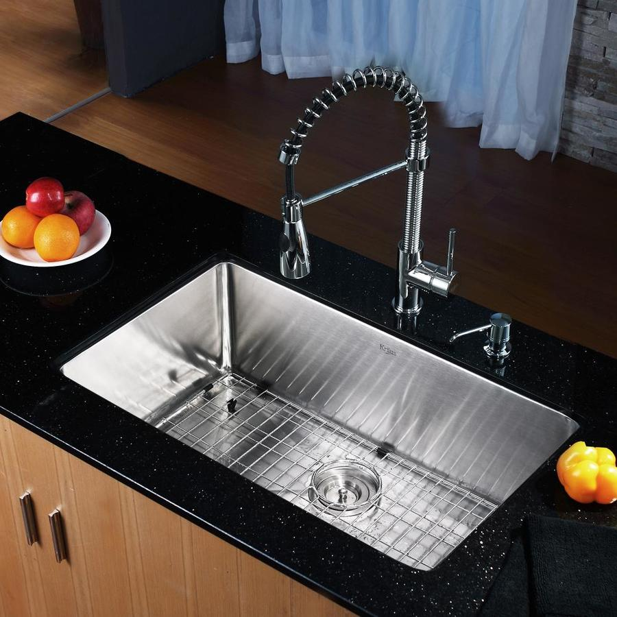 Kraus Kitchen Combo 18-in x 30-in Single-Basin Stainless Steel Undermount Residential Kitchen Sink All-In-One Kit