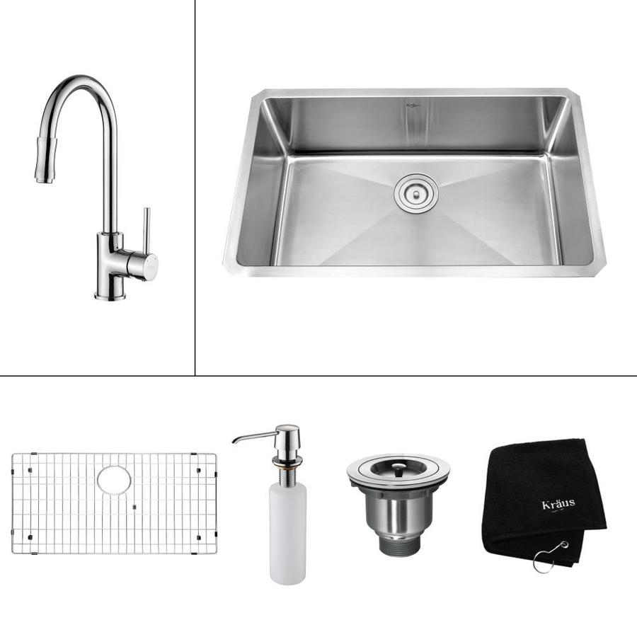 Kraus Kitchen Combo 18-in x 30-in Steel-Stainless Single-Basin-Basin Stainless Steel Undermount (Customizable)-Hole Residential Kitchen Sink All-In-One Kit