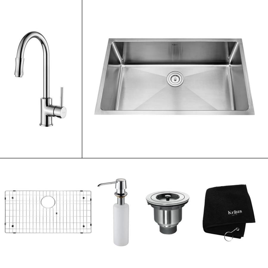 Kraus Kitchen Combo 19-in x 32-in Single-Basin Stainless Steel Undermount Residential Kitchen Sink All-In-One Kit