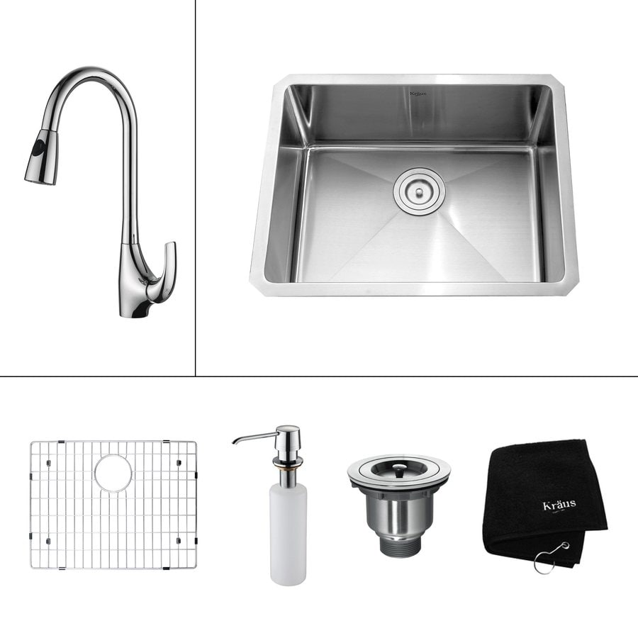 Kraus Kitchen Combo 18-in x 23-in Steel-Stainless Single-Basin Undermount Residential Kitchen Sink All-In-One Kit