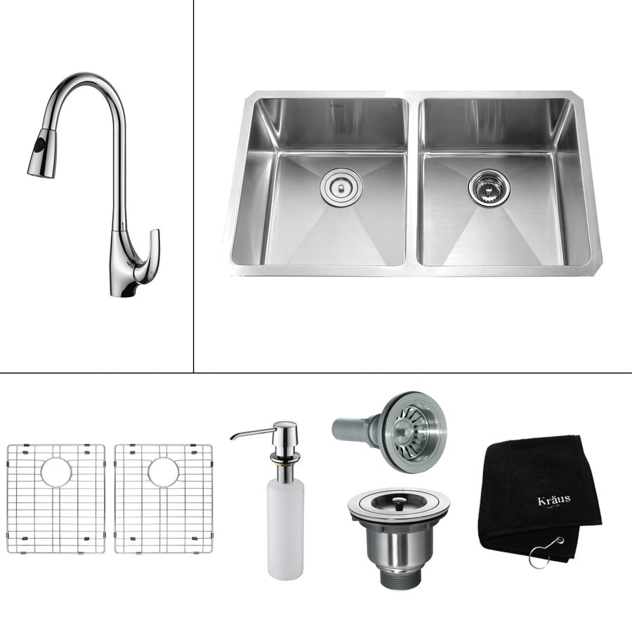 Kraus Kitchen Combo 19-in x 32.75-in Double-Basin Stainless Steel Undermount Residential Kitchen Sink All-In-One Kit