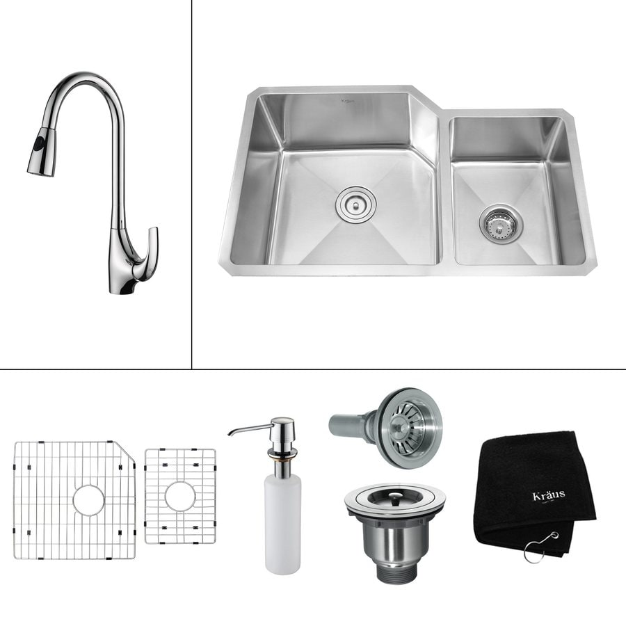 Kraus Kitchen Combo 20-in x 32-in Steel-Stainless Single-Basin-Basin Stainless Steel Undermount (Customizable)-Hole Residential Kitchen Sink All-In-One Kit
