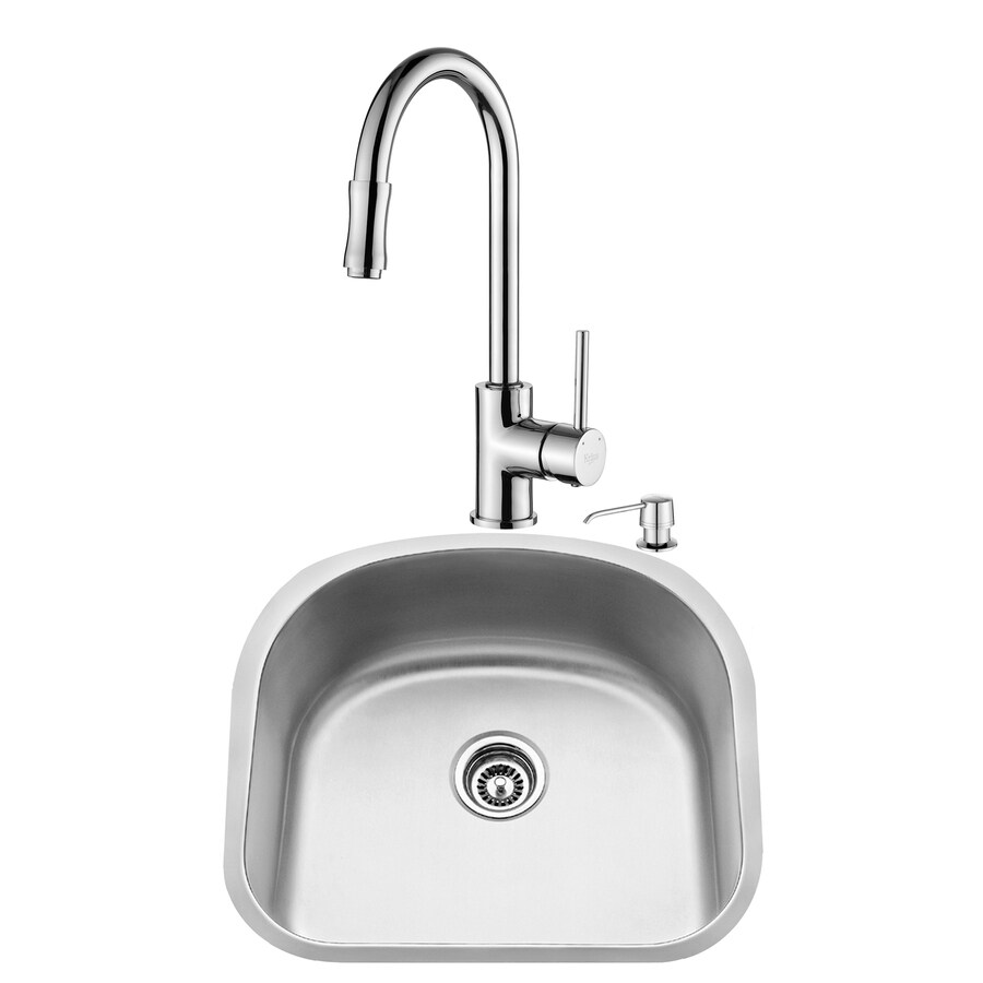 Kraus Kitchen Combo 21-in x 23.06-in Steel-Stainless Single-Basin-Basin Stainless Steel Undermount (Customizable)-Hole Residential Kitchen Sink All-In-One Kit