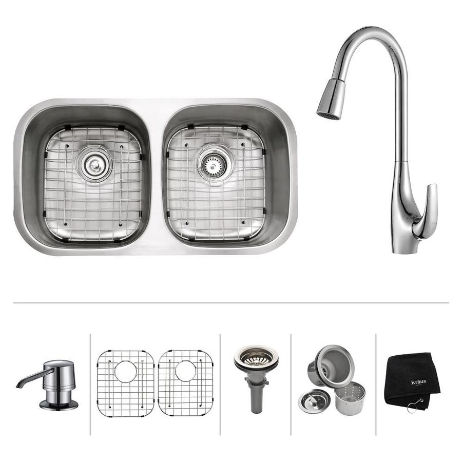 Kraus Kitchen Combo 18-in x 32.25-in Double-Basin Stainless Steel Undermount Residential Kitchen Sink All-In-One Kit