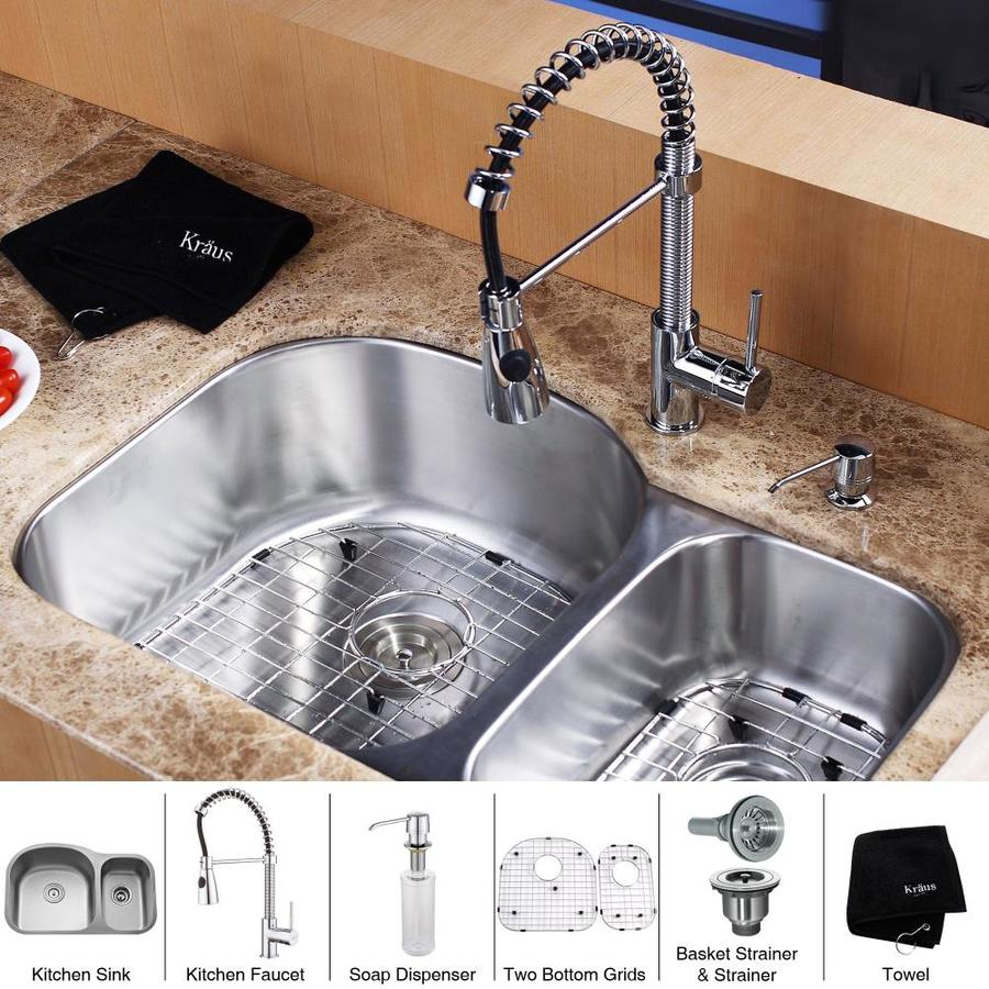 Kraus Kitchen Combo 20.5-in x 31.5-in Steel-Stainless Single-Basin-Basin Stainless Steel Undermount (Customizable)-Hole Residential Kitchen Sink All-In-One Kit