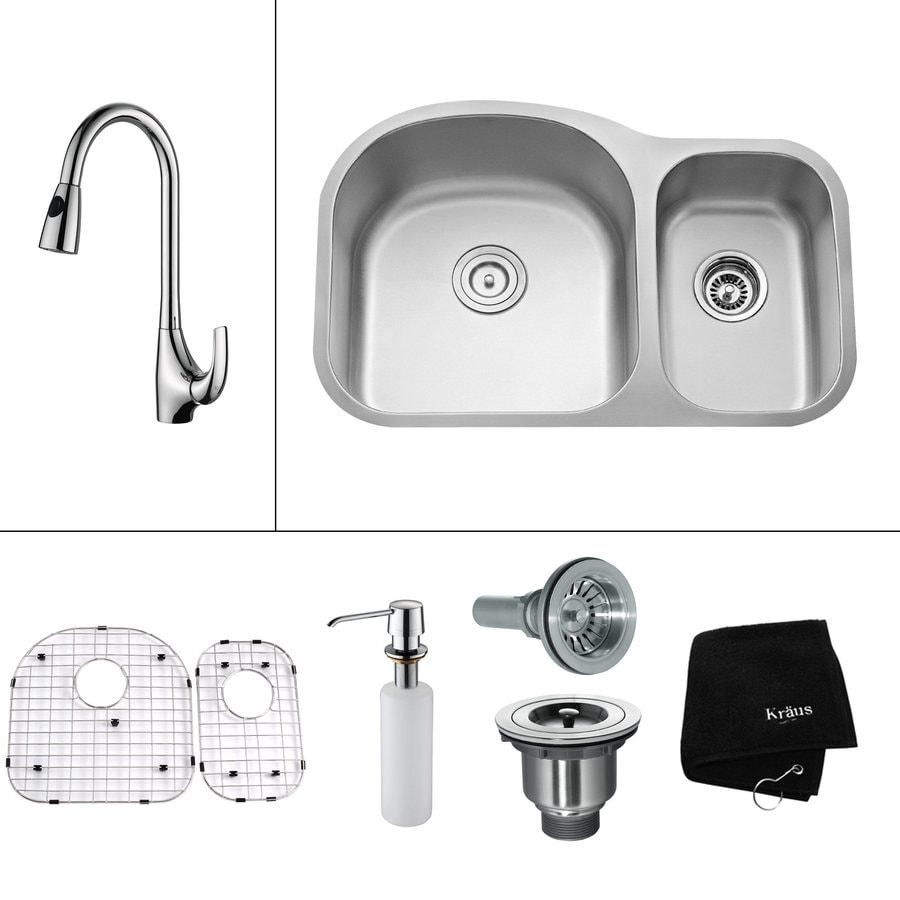Kraus Kitchen Combo 20.5-in x 31.5-in Steel-Stainless Double-Basin Undermount Residential Kitchen Sink All-In-One Kit
