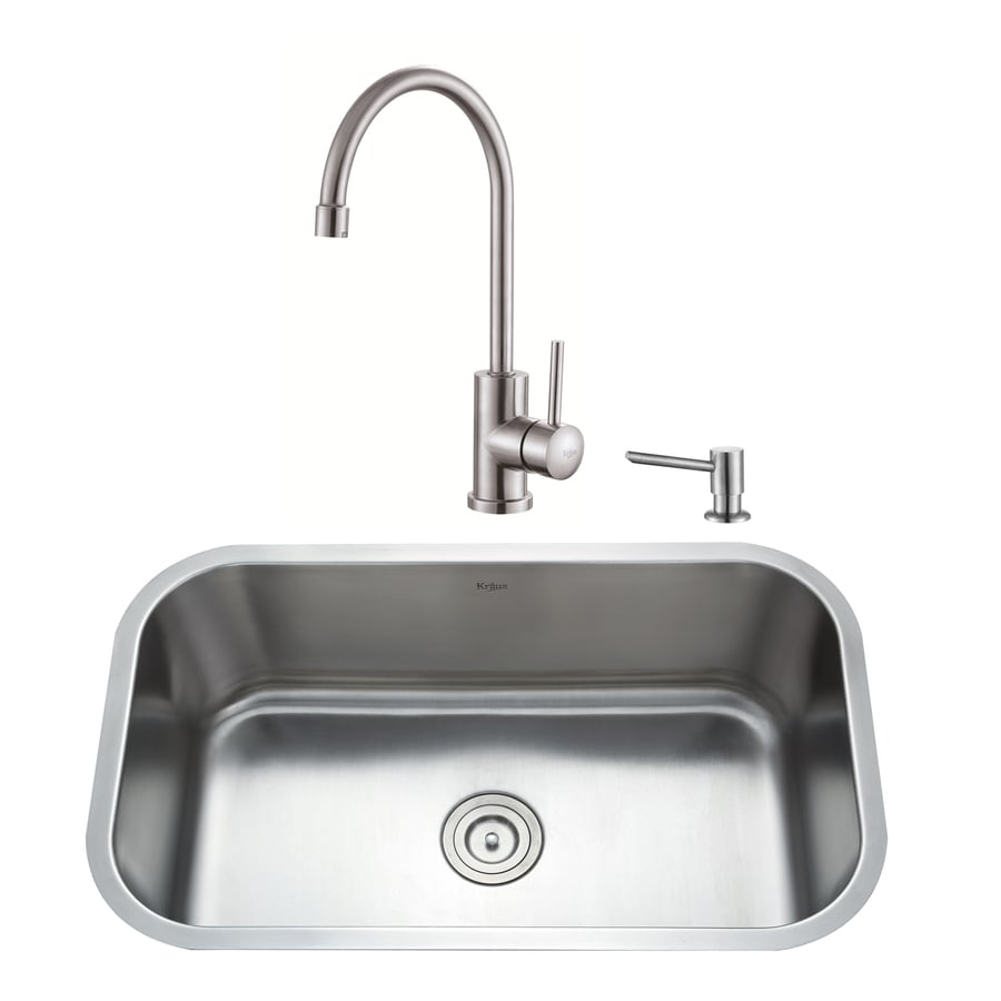 Kraus Kitchen Combo 18.38-in x 31.5-in Single-Basin Stainless Steel Undermount Residential Kitchen Sink All-In-One Kit