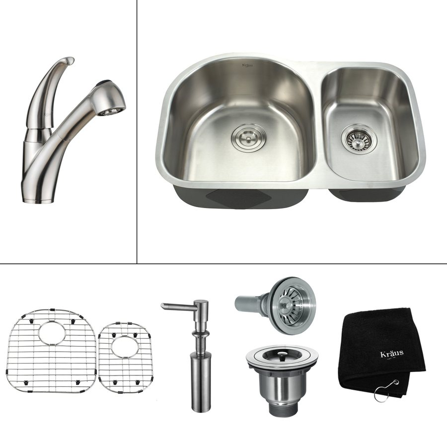 Kraus Kitchen Combo 19.5-in x 30-in Steel-Stainless Double-Basin Undermount Residential Kitchen Sink All-In-One Kit