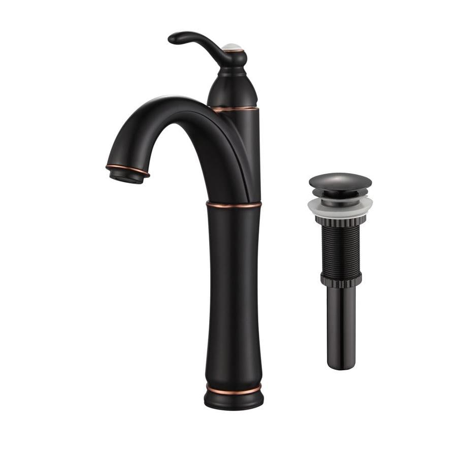Shop kraus vessel mixer oil rubbed bronze 1 handle vessel bathroom faucet at for Oil rubbed bronze bathroom faucets