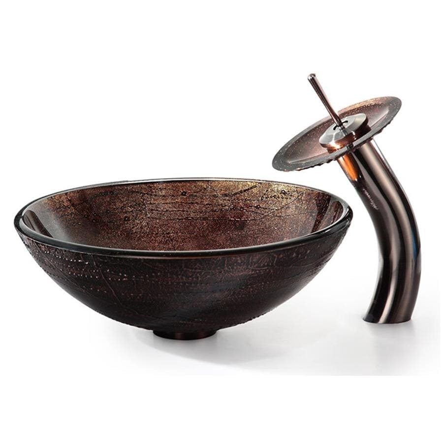 Kraus Copper Illusion Brass Vessel Round Bathroom Sink with Faucet