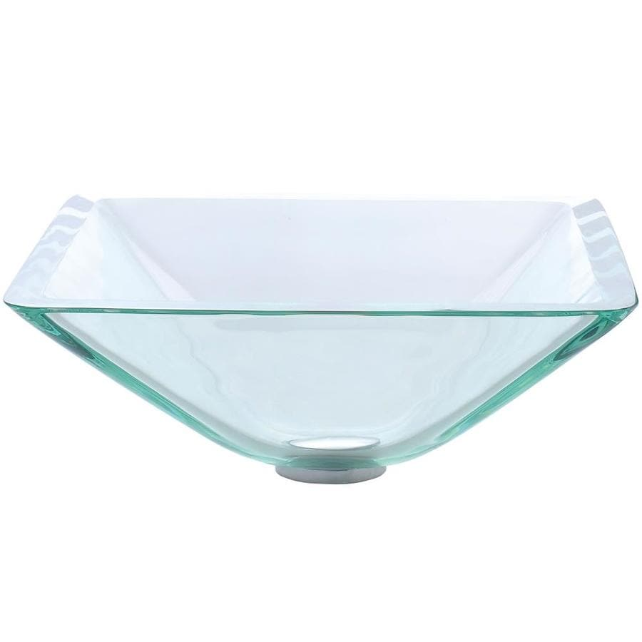 Kraus Square Clear Tempered Glass Vessel Square Bathroom Sink