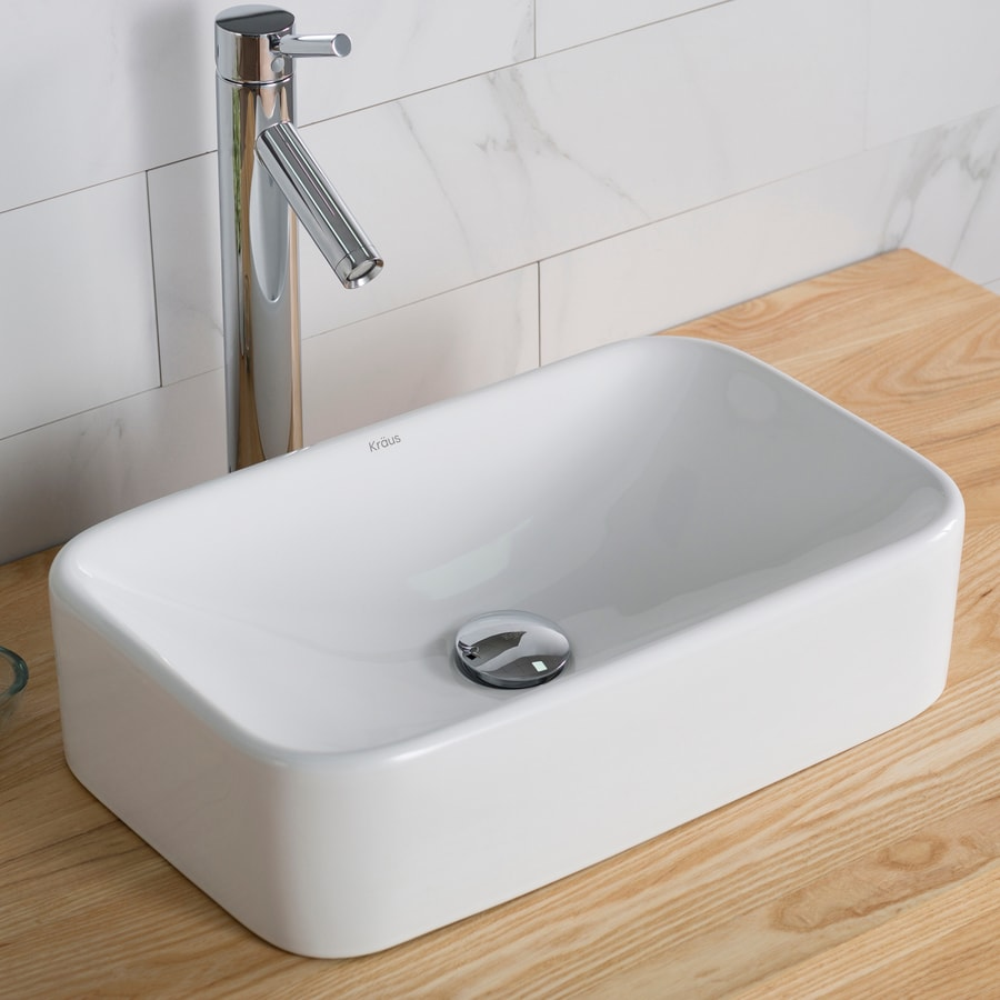 Kraus White Vessel Rectangular Bathroom Sink