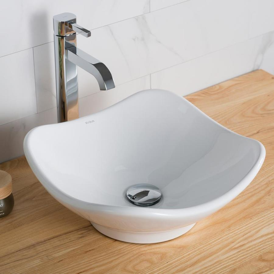 Kraus White Vessel Round Bathroom Sink