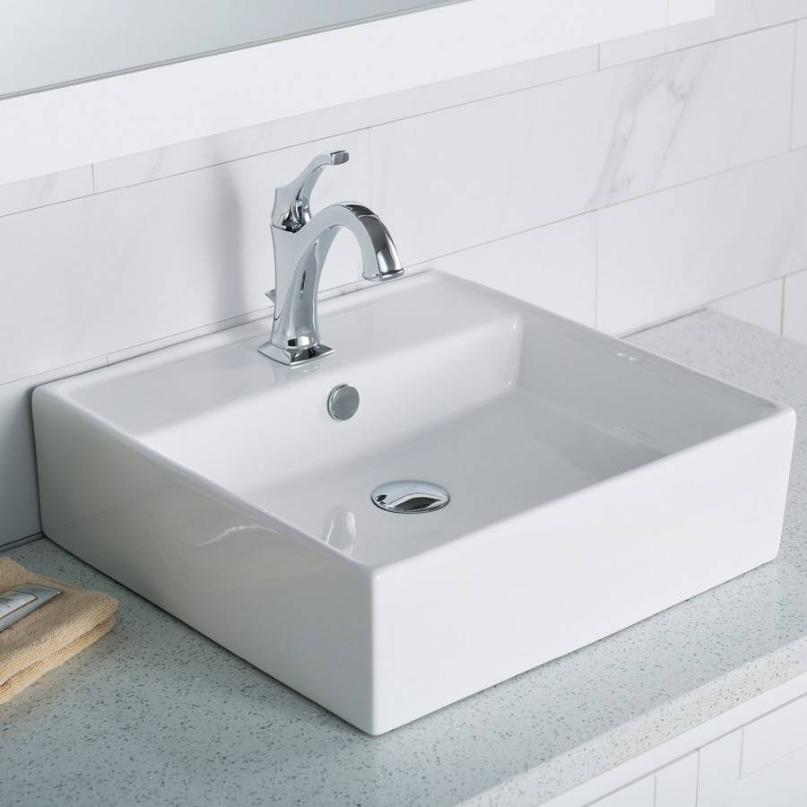 Drain For Bathroom Sink: Shop Kraus White Vessel Square Bathroom Sink With Overflow