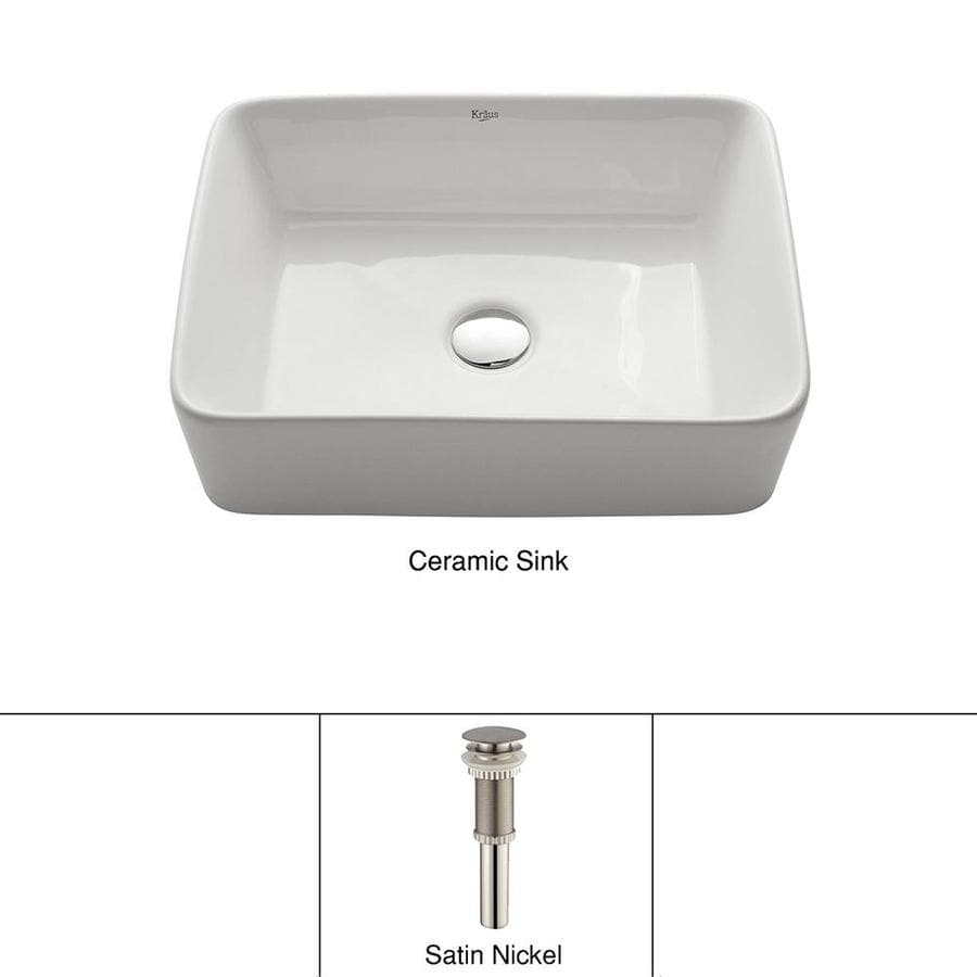 Kraus White Vessel Rectangular Bathroom Sink (Drain Included)