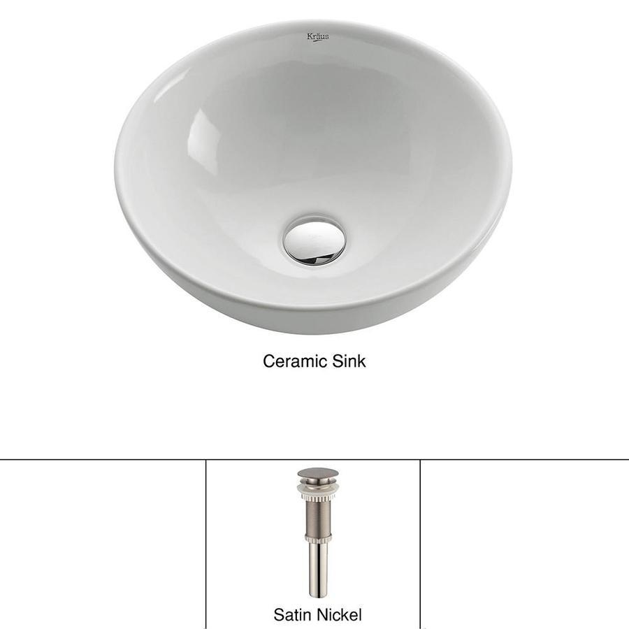 Kraus White Vessel Round Bathroom Sink (Drain Included)