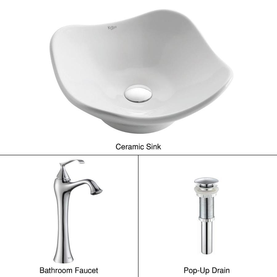 Kraus Ventus Chrome Ceramic Vessel Hexagonal Bathroom Sink with Faucet (Drain Included)