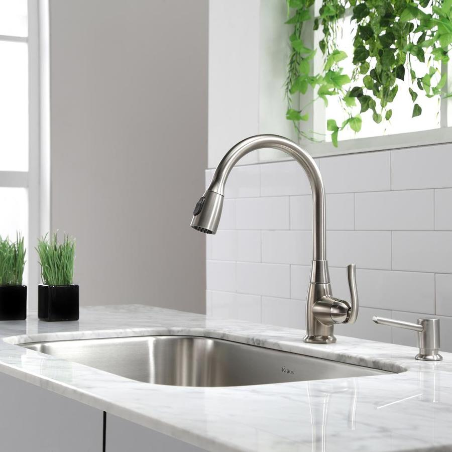 Kraus Premium Kitchen Faucet Satin Nickel 1-Handle Pull-Down Kitchen Faucet