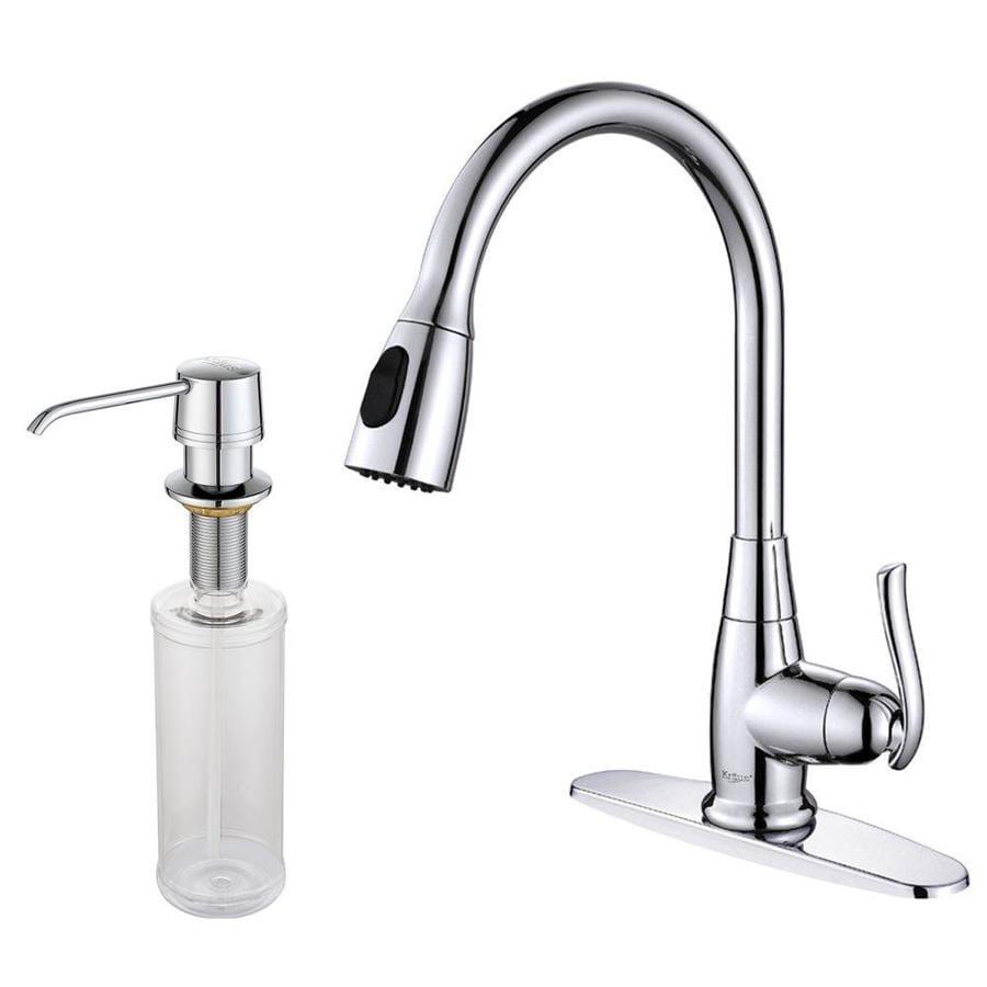 shop kraus premium chrome 1 handle pull down kitchen shop kraus premium chrome 1 handle pre rinse kitchen