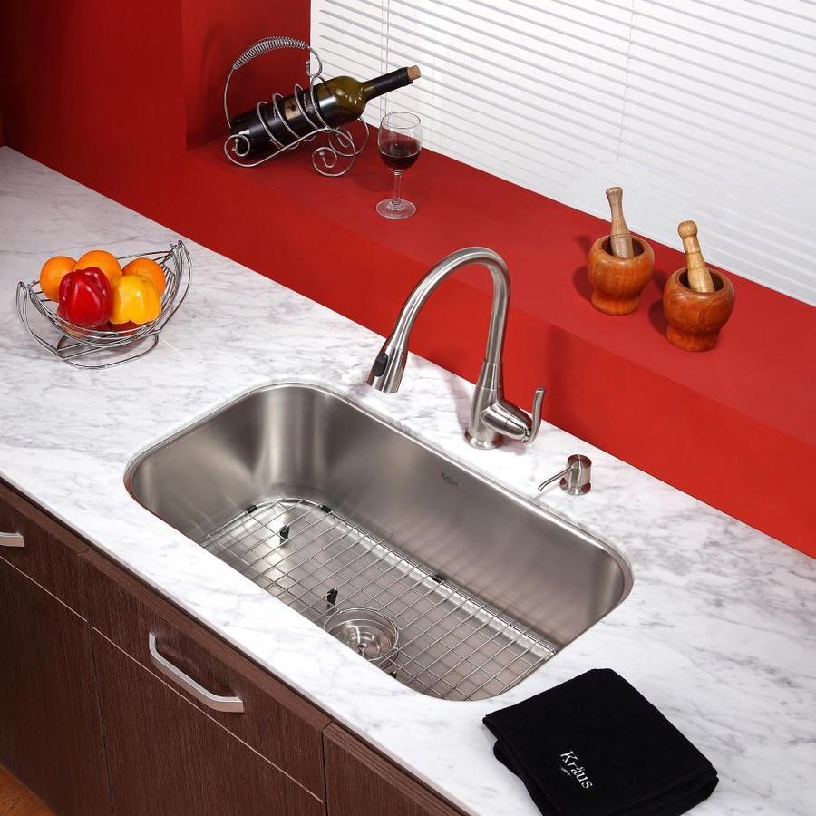 Kraus Premium Kitchen Faucet Satin Nickel 1-Handle Pull-Down Kitchen Faucet