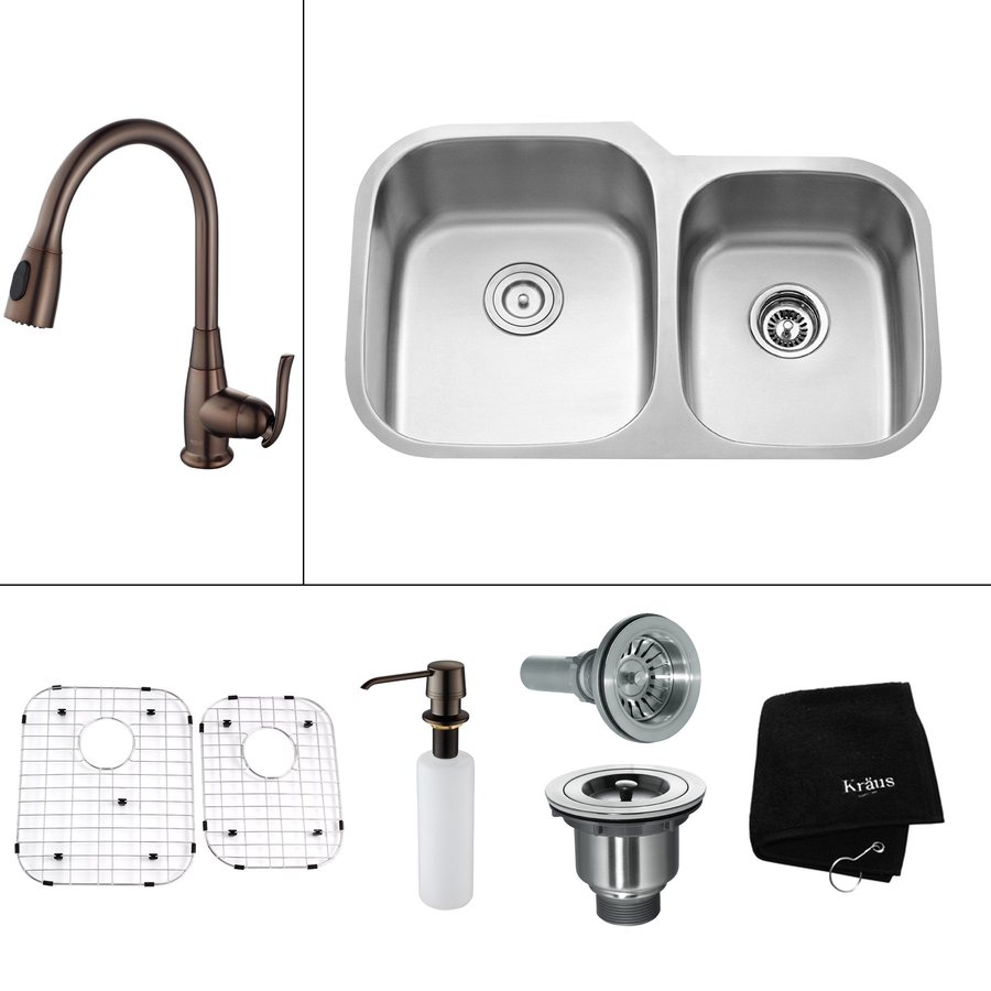 Kraus Kitchen Combo 20.63-in x 32-in Double-Basin Stainless Steel Undermount Residential Kitchen Sink All-In-One Kit