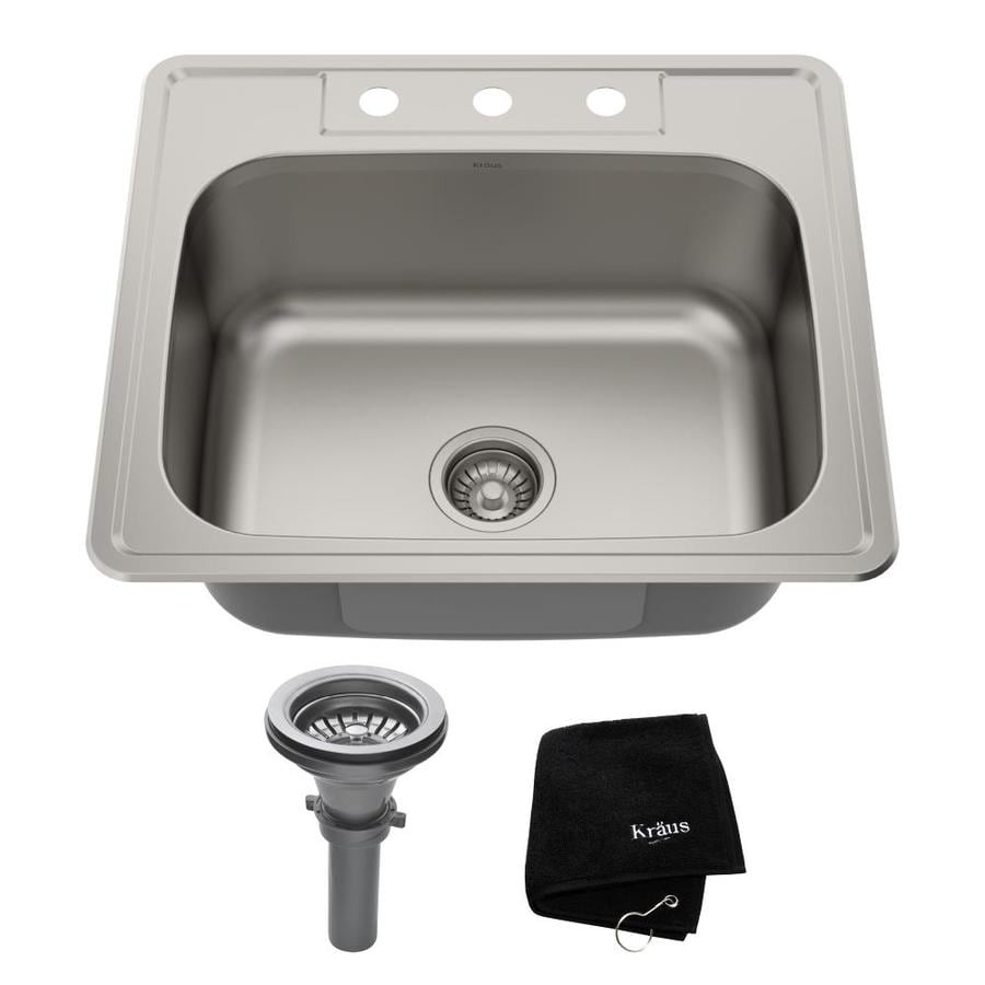 Kraus Premier Kitchen Sink 22-in x 25-in Single-Basin Stainless Steel Drop-in 3-Hole Residential Kitchen Sink