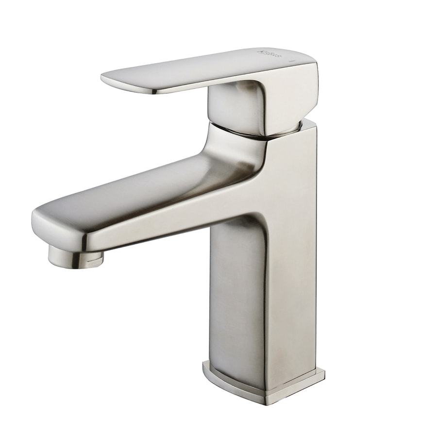Kraus virtus brushed nickel 1 handle single hole - Single hole bathroom faucets brushed nickel ...