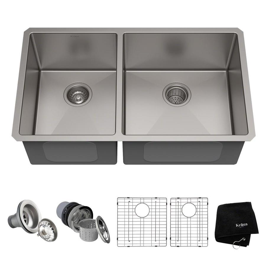 Kraus Handmade 19-in x 32.75-in Stainless Steel Single-Basin-Basin Stainless Steel Undermount (Customizable)-Hole Residential Kitchen Sink