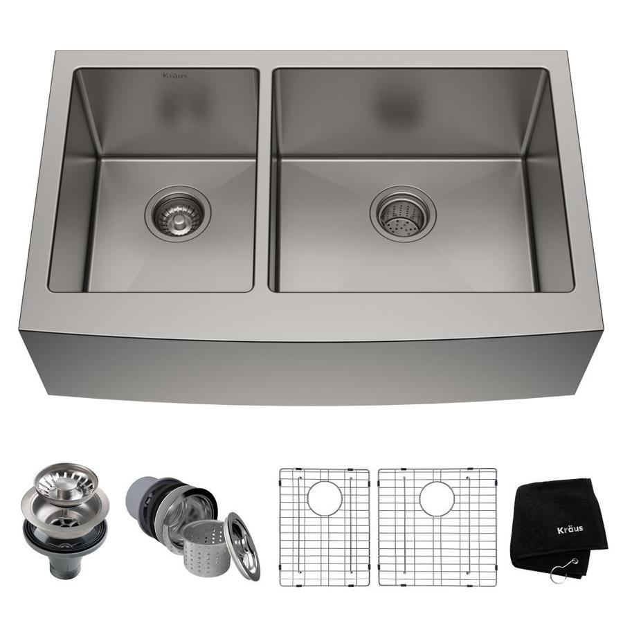 Kraus Handmade 16-Gauge Double-Basin Apron Front Stainless Steel Kitchen Sink