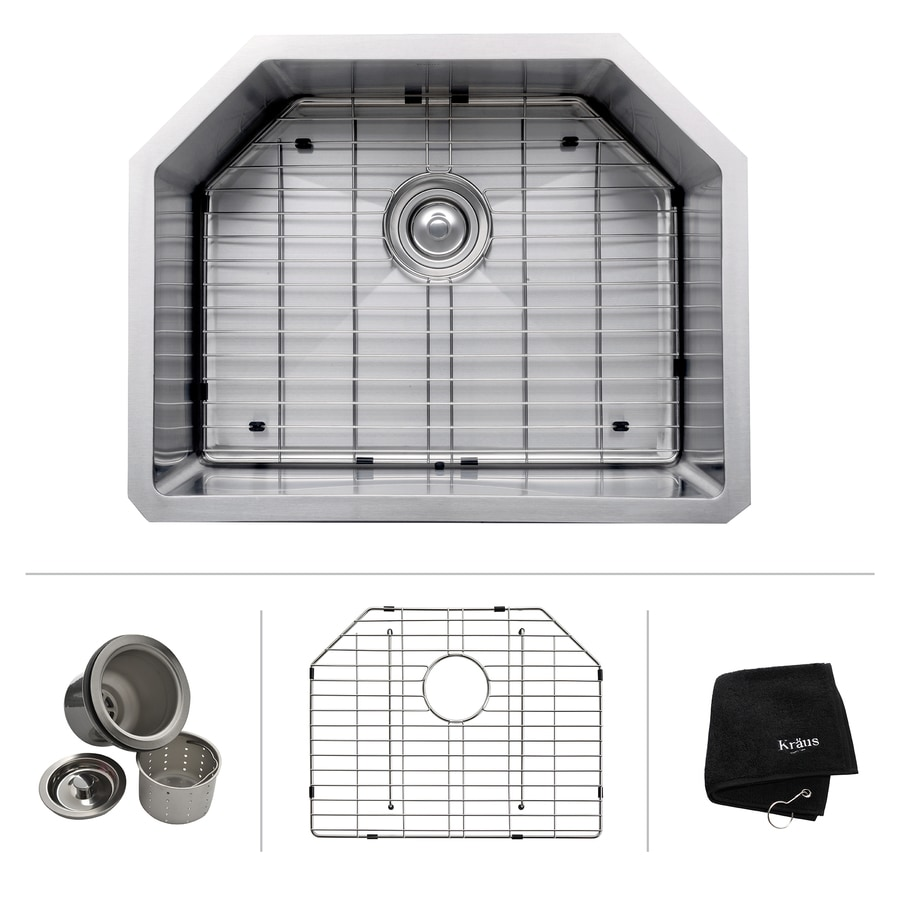 Kraus Kitchen Sink 18.75-in x 23.75-in Stainless Steel Single-Basin Undermount Residential Kitchen Sink All-In-One Kit