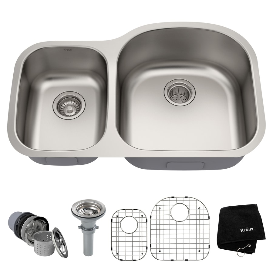 Kraus Kitchen Sink 20.5-in x 32.38-in Stainless Steel Double-Basin Undermount Residential Kitchen Sink All-In-One Kit