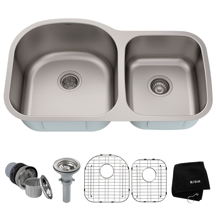 Kraus Kitchen Sink 20.38-in x 34.38-in Stainless Steel Double-Basin Undermount Residential Kitchen Sink All-In-One Kit