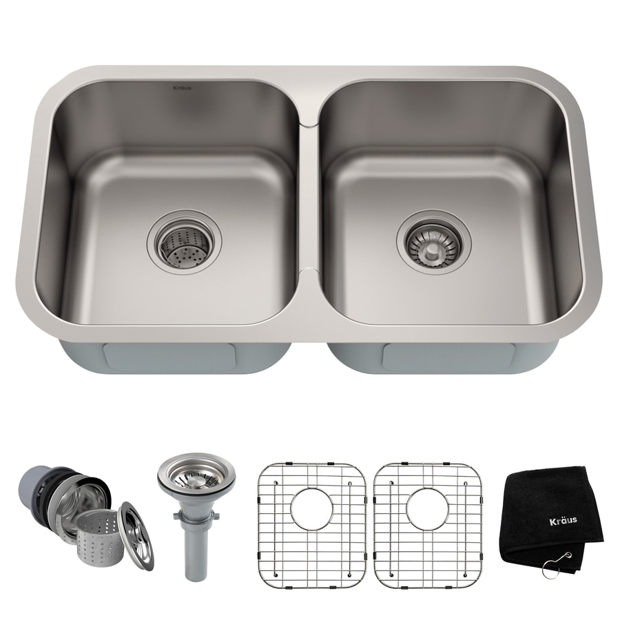 Kraus Premier Kitchen Sink 18-in x 31.38-in Double-Basin Stainless Steel Undermount Residential Kitchen Sink