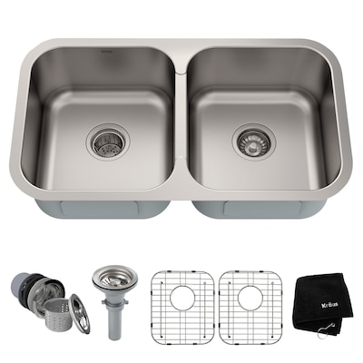 18-Gauge Double-Basin Undermount Stainless Steel Kitchen Sink