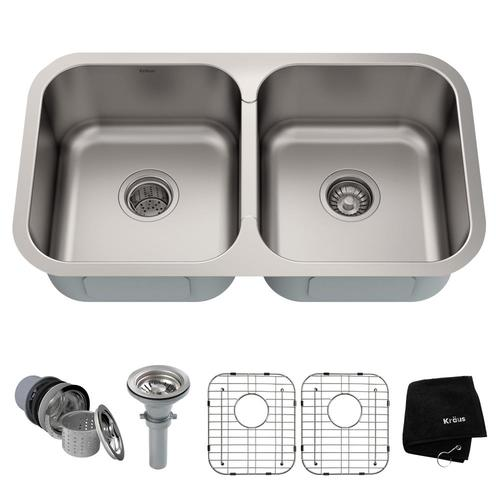 Kraus Premier Kitchen Sink 31 38 In X 18 Stainless Steel Double Equal Bowl Undermount Residential The Sinks Department At Lowes