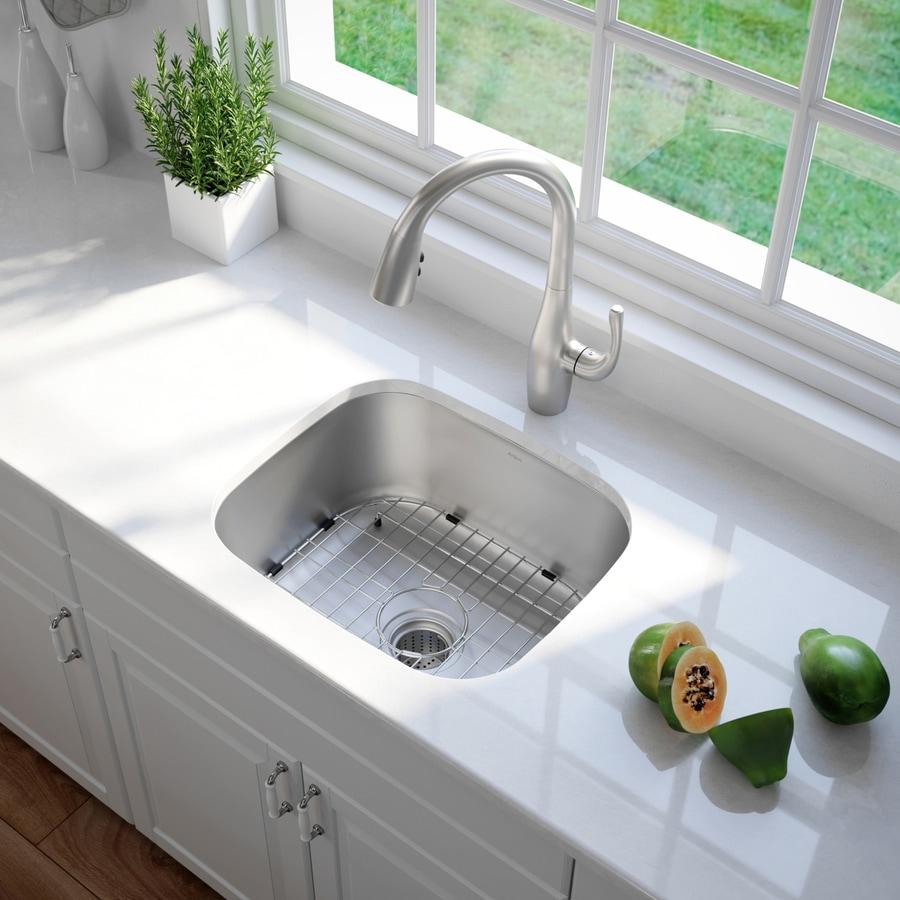 Kraus Premier Kitchen Sink 20.5-in x 19.75-in Stainless Steel 1 Stainless Steel Undermount (Customizable)-Hole Residential Kitchen Sink