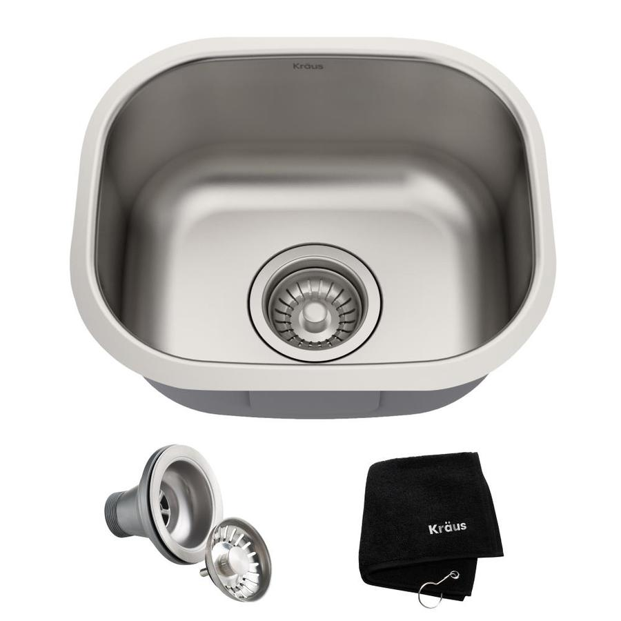 Kraus Premier Kitchen Sink 12.75-in x 15.13-in Single-Basin Stainless Steel Undermount Residential Kitchen Sink