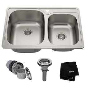 Stainless Steel Double Offset Bowl Kitchen Sinks At Lowes Com