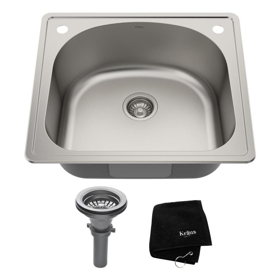 Kraus Premier Kitchen Sink 22-in x 25-in Single-Basin Stainless Steel Drop-in 2-Hole Residential Kitchen Sink