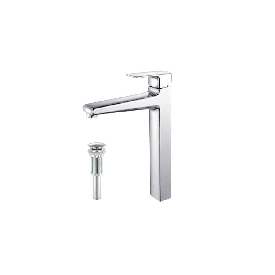 Kraus Virtus Chrome 1-Handle Single Hole WaterSense Bathroom Faucet (Drain Included)