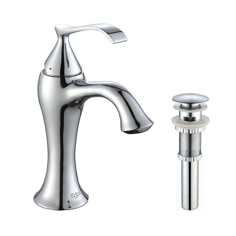 Kraus Ventus Chrome 1-Handle Single Hole WaterSense Bathroom Faucet (Drain Included)