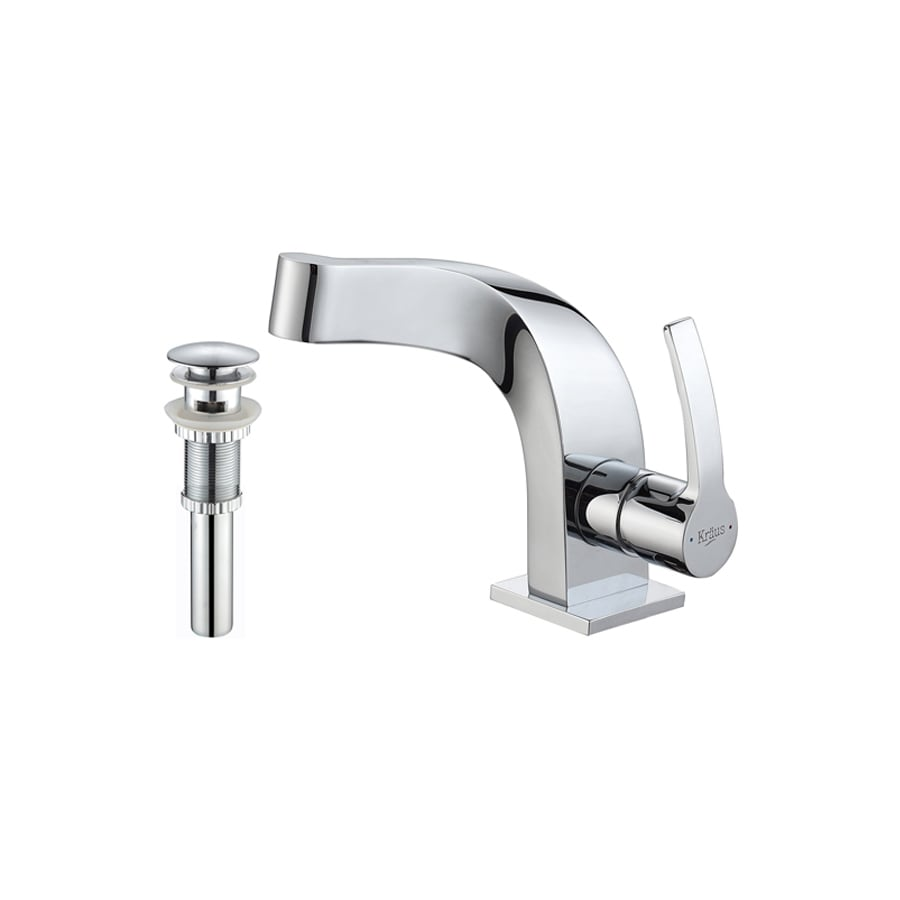 Kraus Typhon Chrome 1-Handle Single Hole WaterSense Bathroom Faucet (Drain Included)