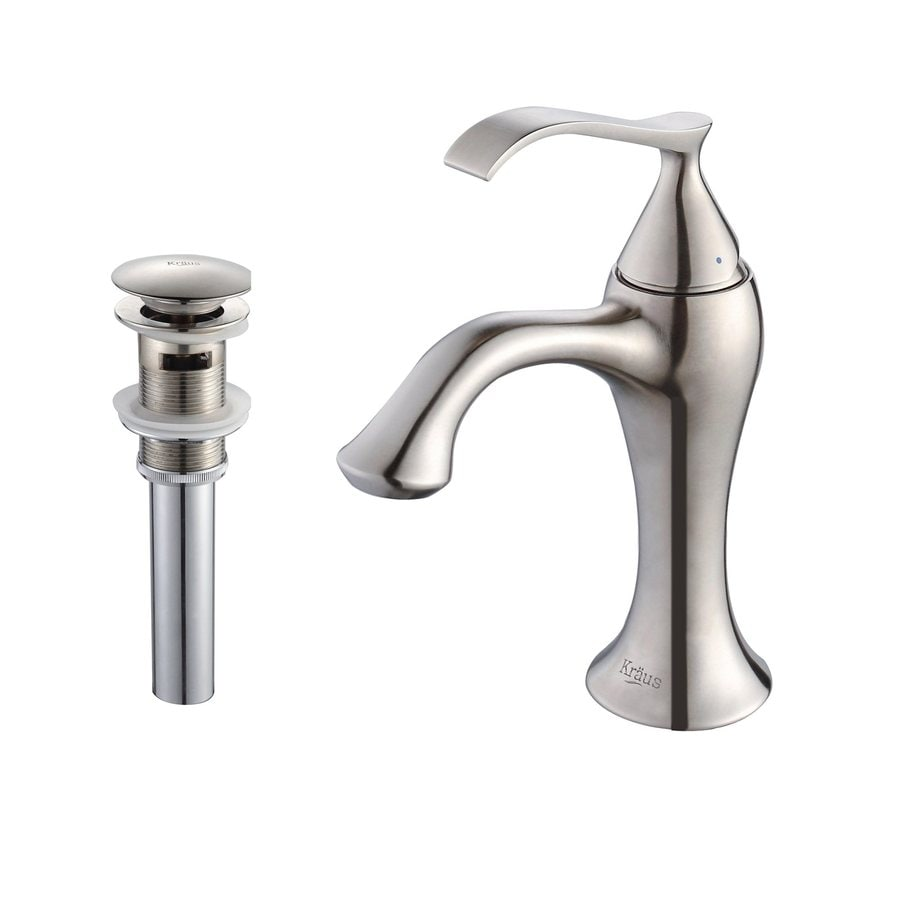 Kraus Ventus Brushed Nickel 1-Handle Single Hole WaterSense Bathroom Faucet (Drain Included)