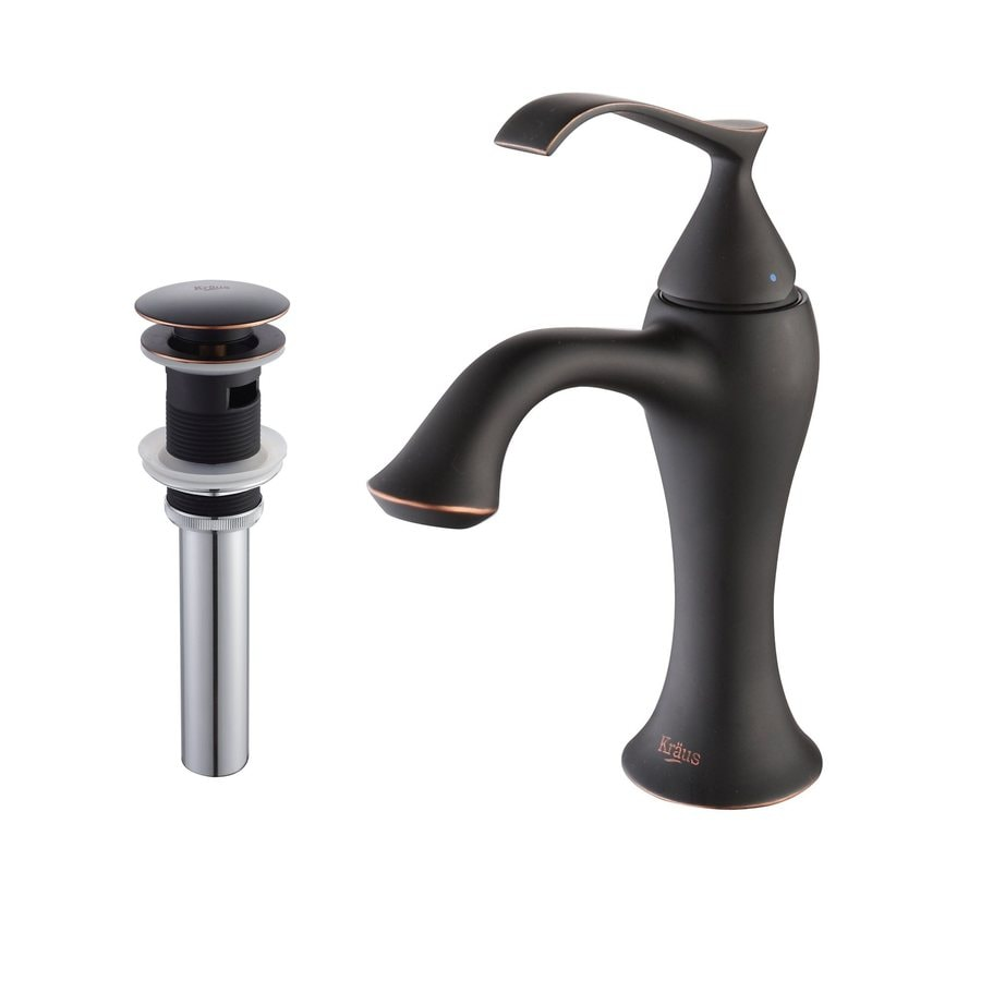 Kraus Ventus Oil Rubbed Bronze 1-Handle Single Hole WaterSense Bathroom Faucet (Drain Included)