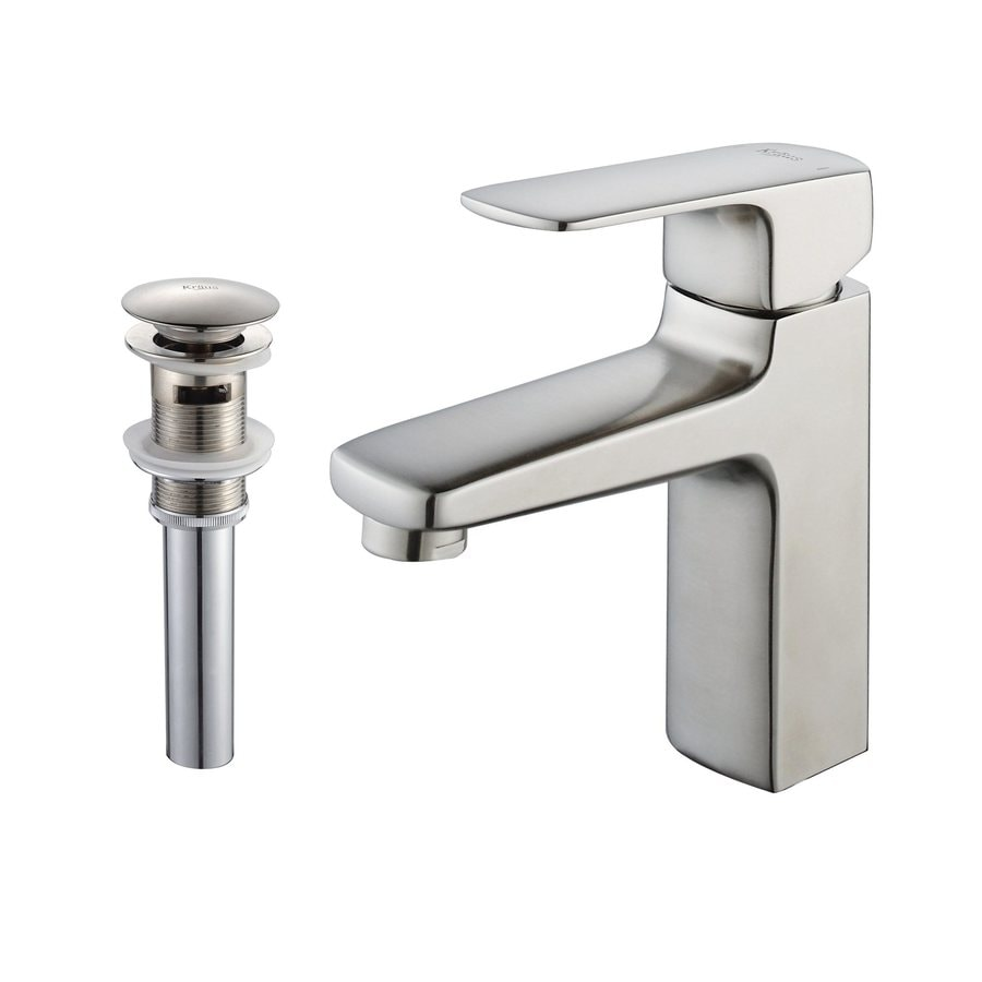 Kraus Virtus Brushed Nickel 1-Handle Single Hole WaterSense Bathroom Faucet (Drain Included)