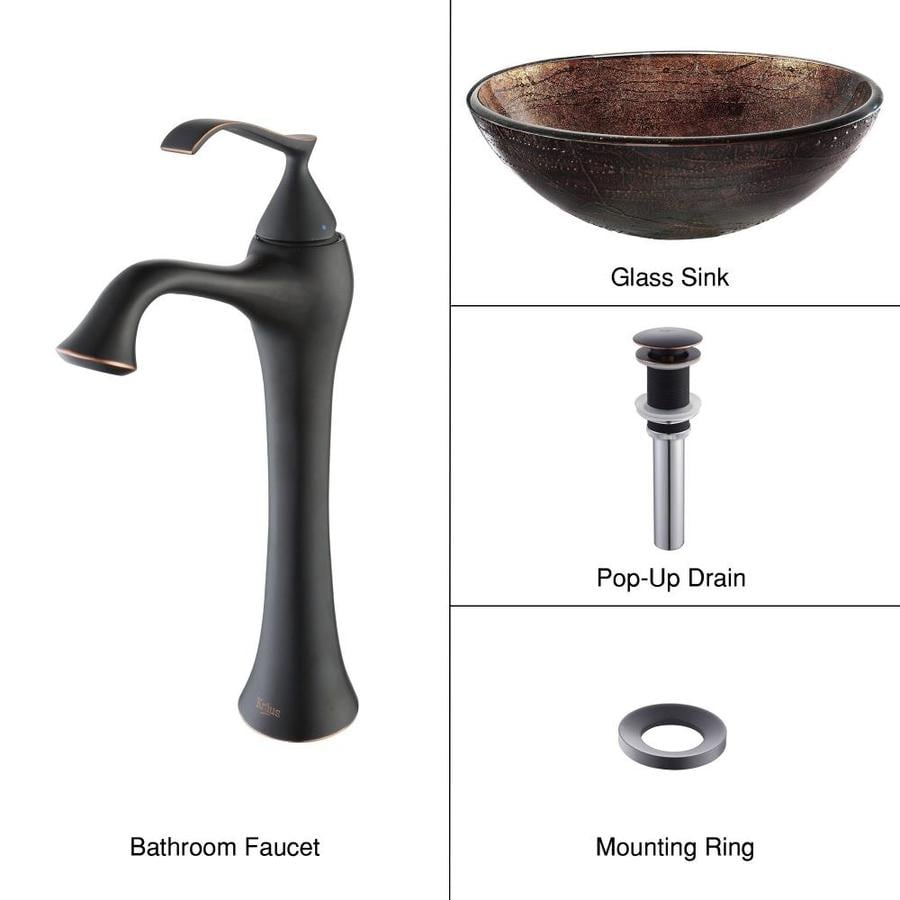 Kraus Ventus Oil-Rubbed Bronze Tempered Glass Vessel Round Bathroom Sink with Faucet (Drain Included)